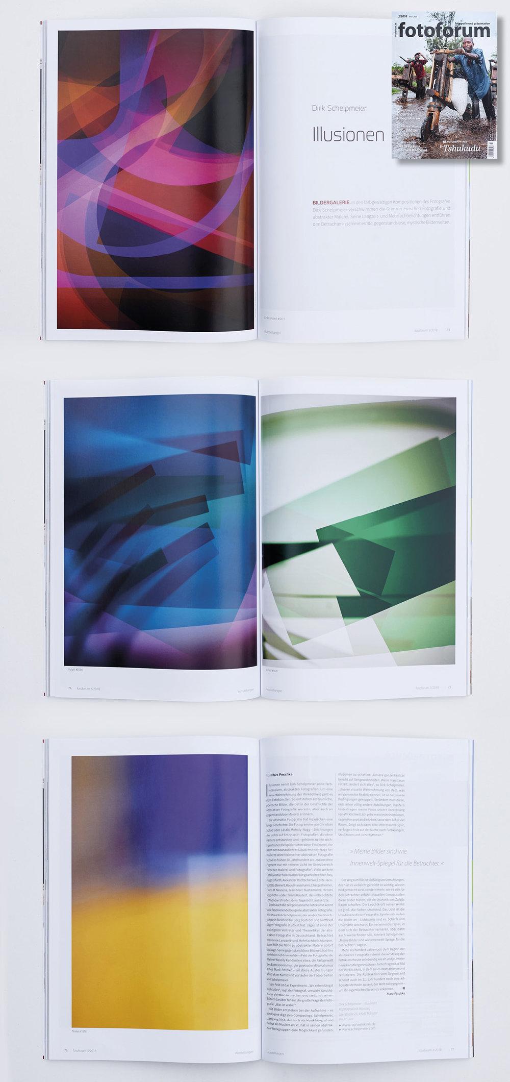 6-seitiger Bericht in der Zeitschrift   fotoforum  , Ausgabe Mai/Juni 2018