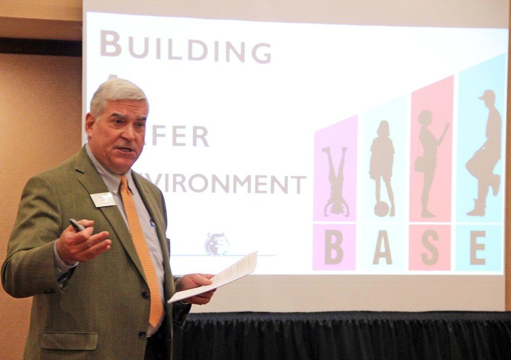Principal Art Bond presents our B.A.S.E. initiative to local schools.