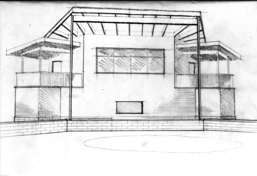 Initial sketch concept for the new pressbox