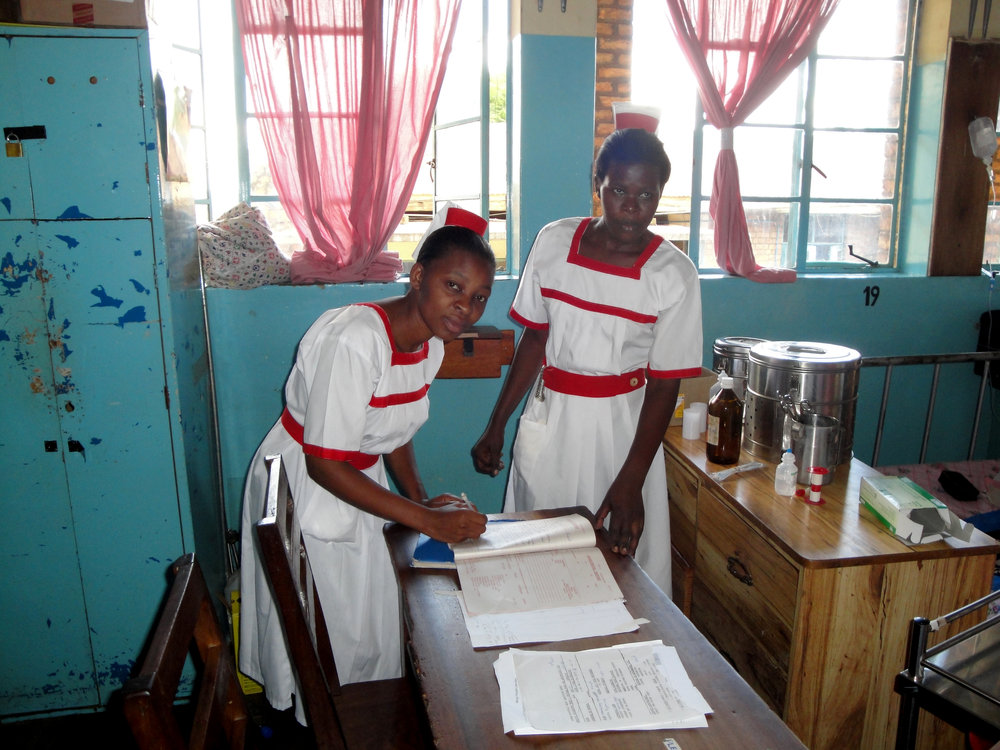 Nursing students working in a ward in Kabale hospital near Rwandan border.
