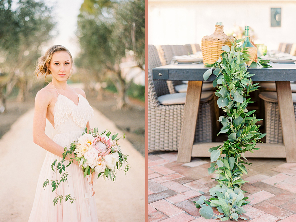 Central Coast Wedding Florist, garland centerpiece, blush and white wedding inspiration,