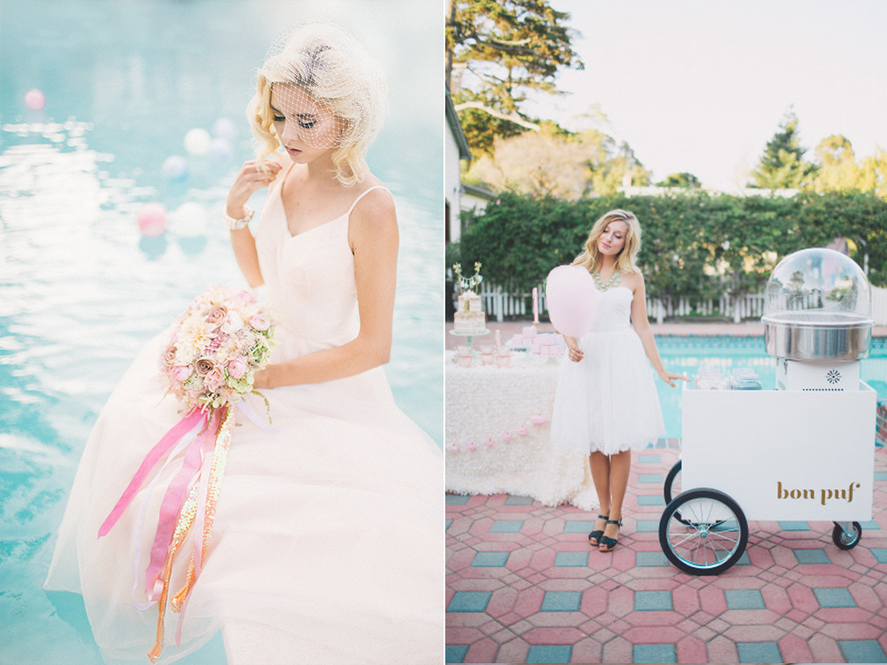 retro pastel flowers and cotton candy wedding inspiration