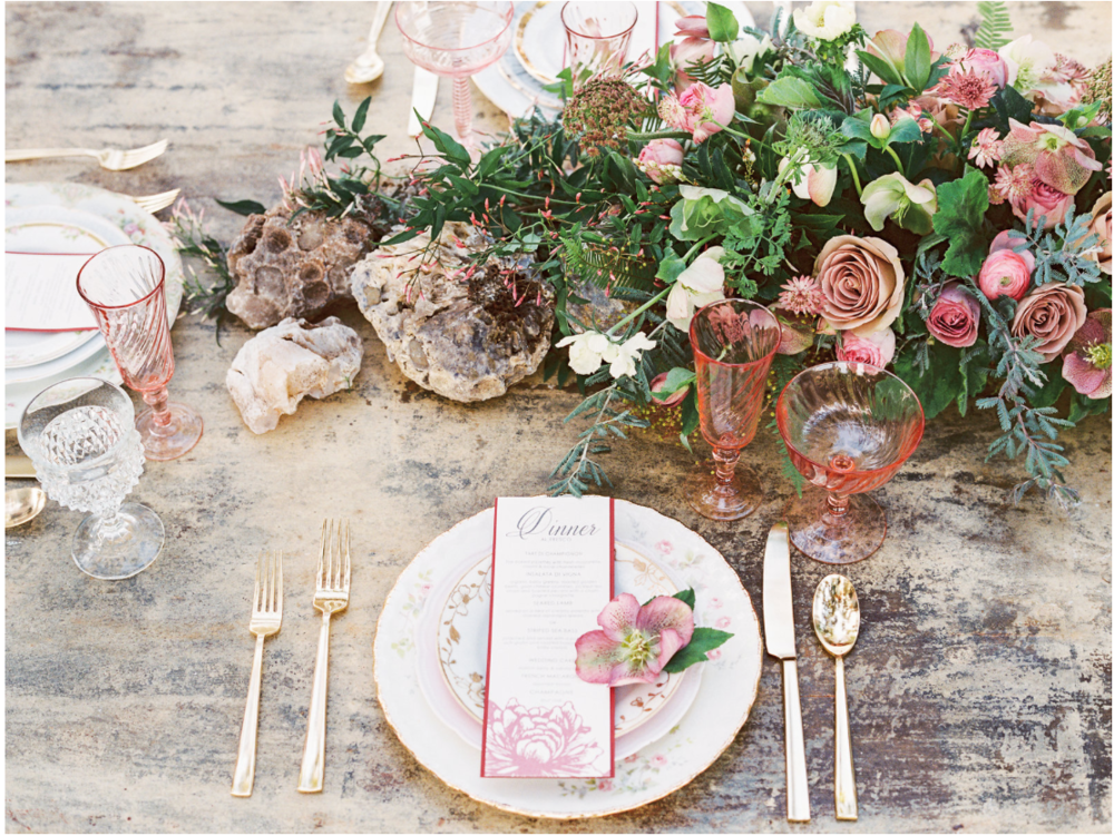 Mauve and Stone Table Decor
