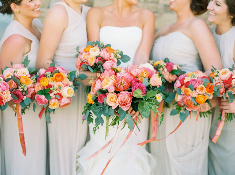 Coral and Peach Bouquets