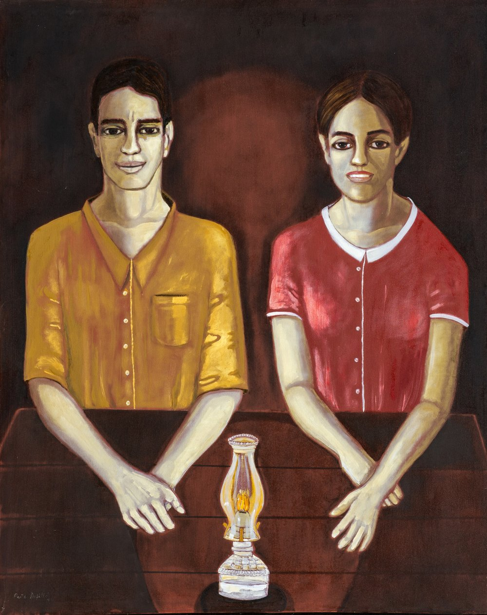 "Confesor y Secundina (1998) Óleo sobre tela. 70 x 56"""