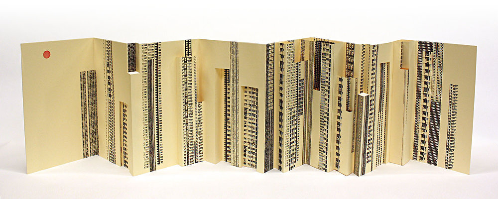 Folding City,  laser print on index paper with stamping ink, unlimited edition