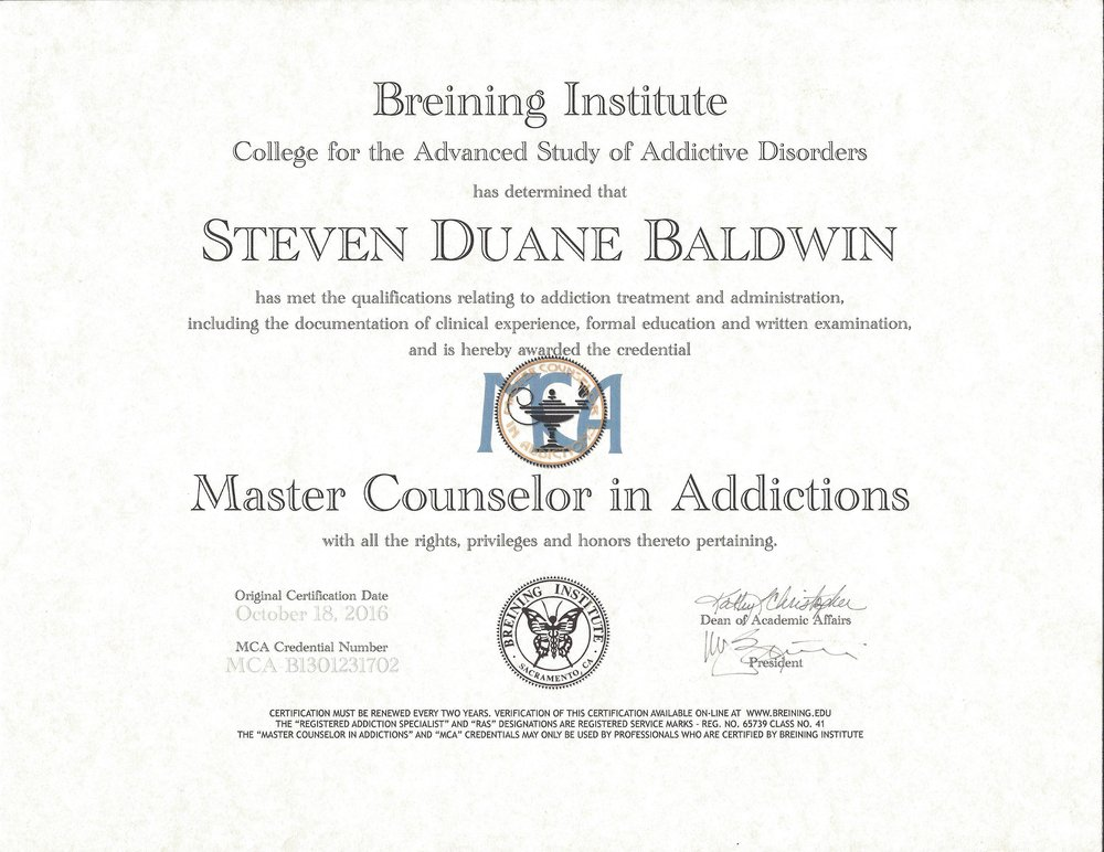 (MAC) MASTER COUNSELOR IN ADDICTIONS