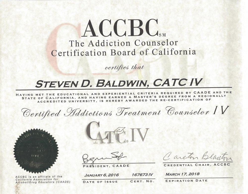 (CATC IV) CERTIFIED ADDICTIONS COUNSELOR IV