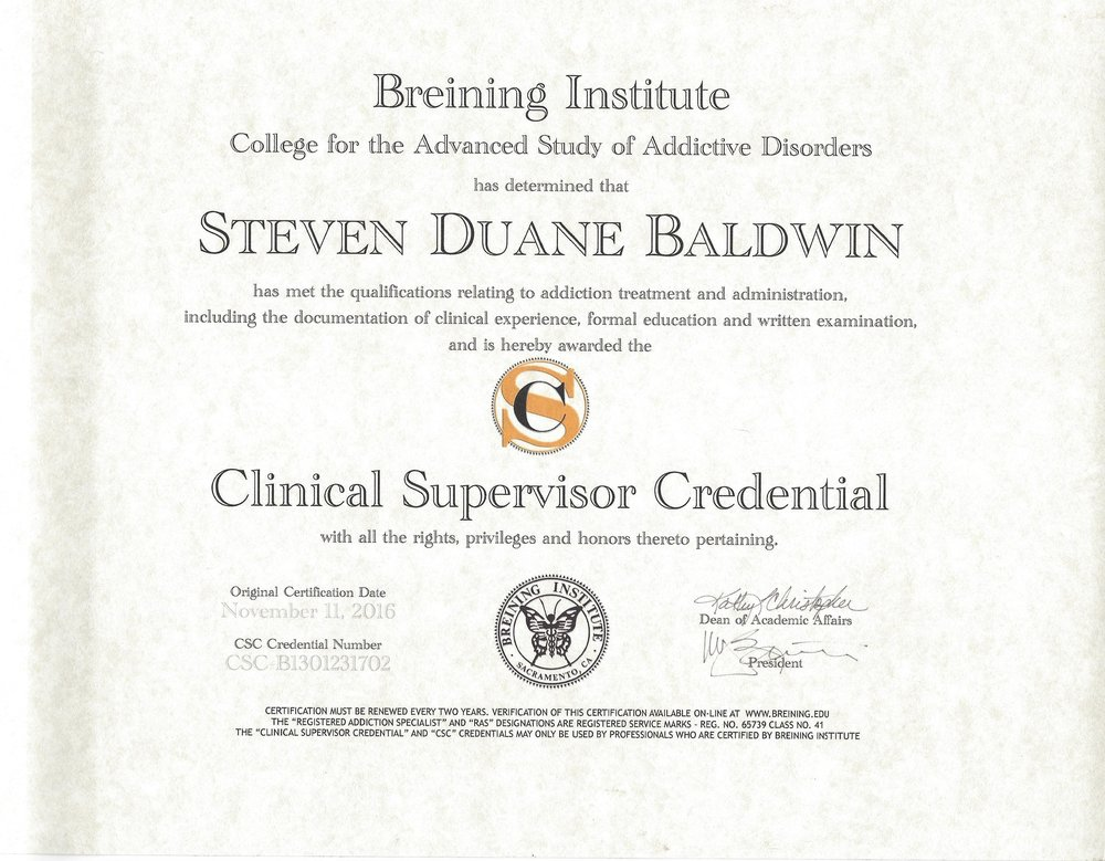 (CSC) CERTIFIES CLINICAL SUPERVISOR