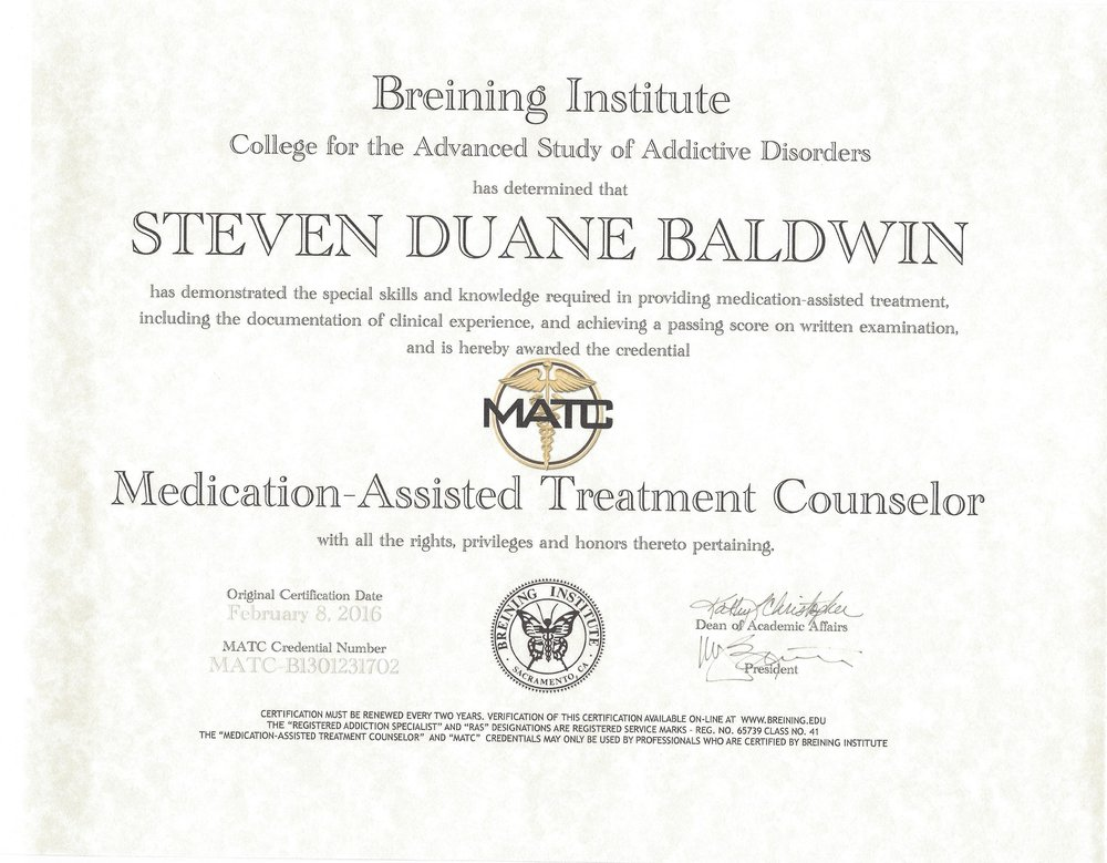 (MATC) MEDICATION ASSISTED TREATMENT COUNSELOR