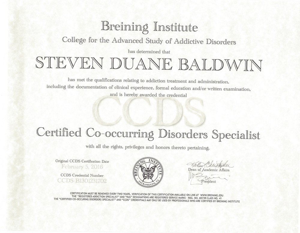 (CCDS) CERTIFIED CO_ OCCURRING DISORDERS SPECIALIST