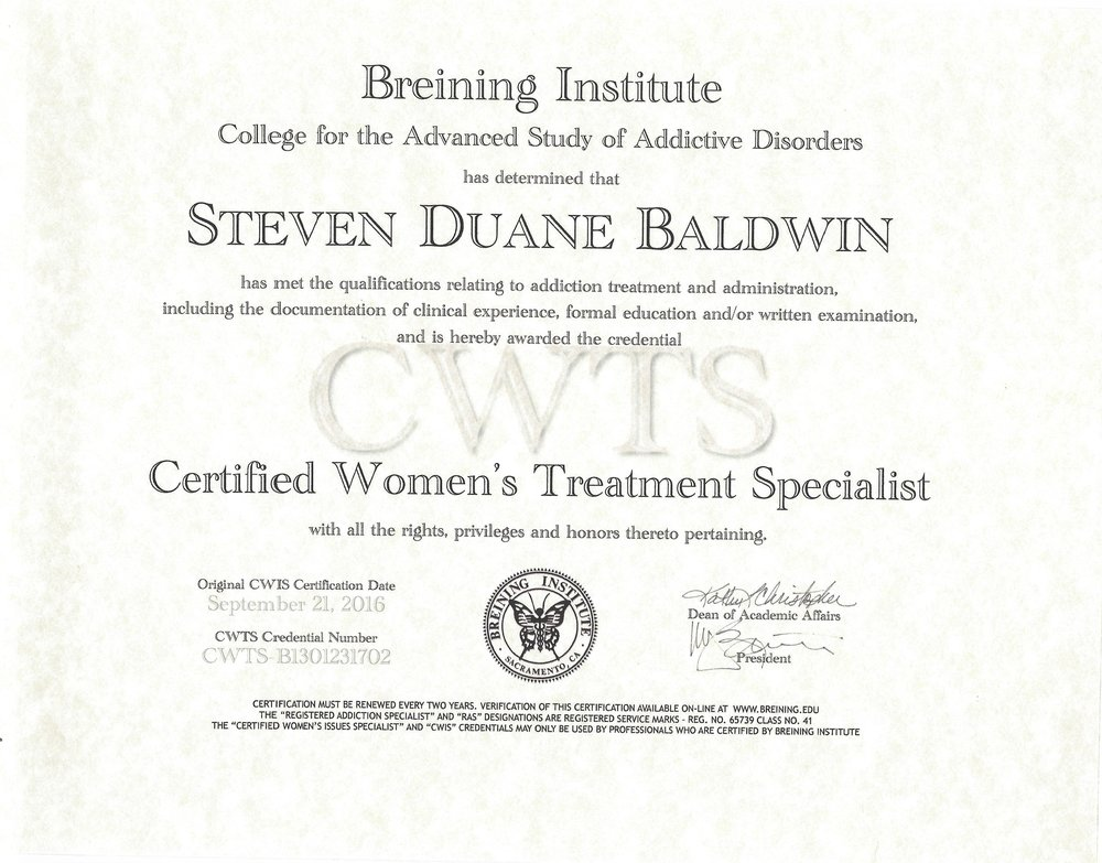 (CWTS) CERTIFIED WOMANS TREATMENT SPECIALIST