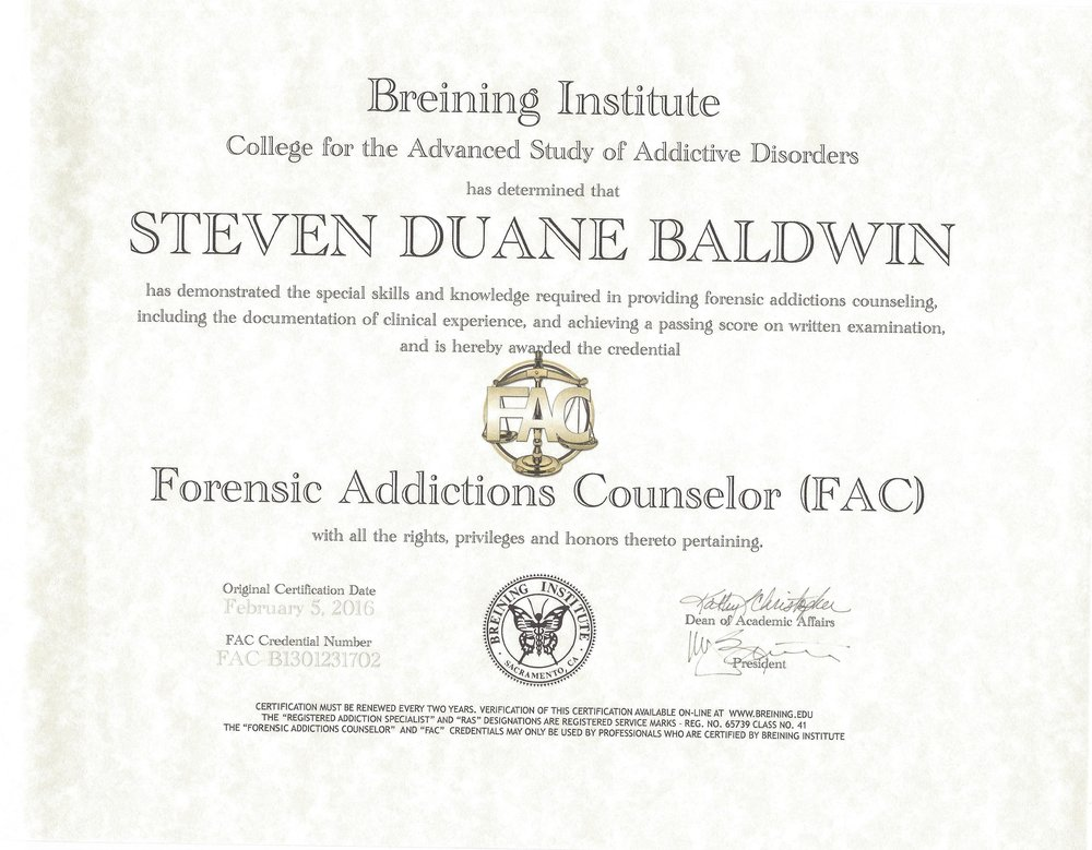 (FAC) FORENSIC ADDICTIONS COUNSELOR