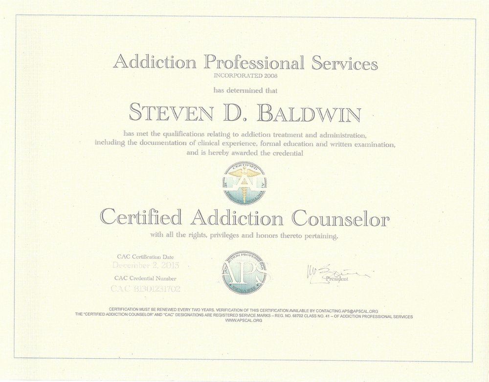 (CAC) CERTIFIED ADDICTIONS COUNSELOR