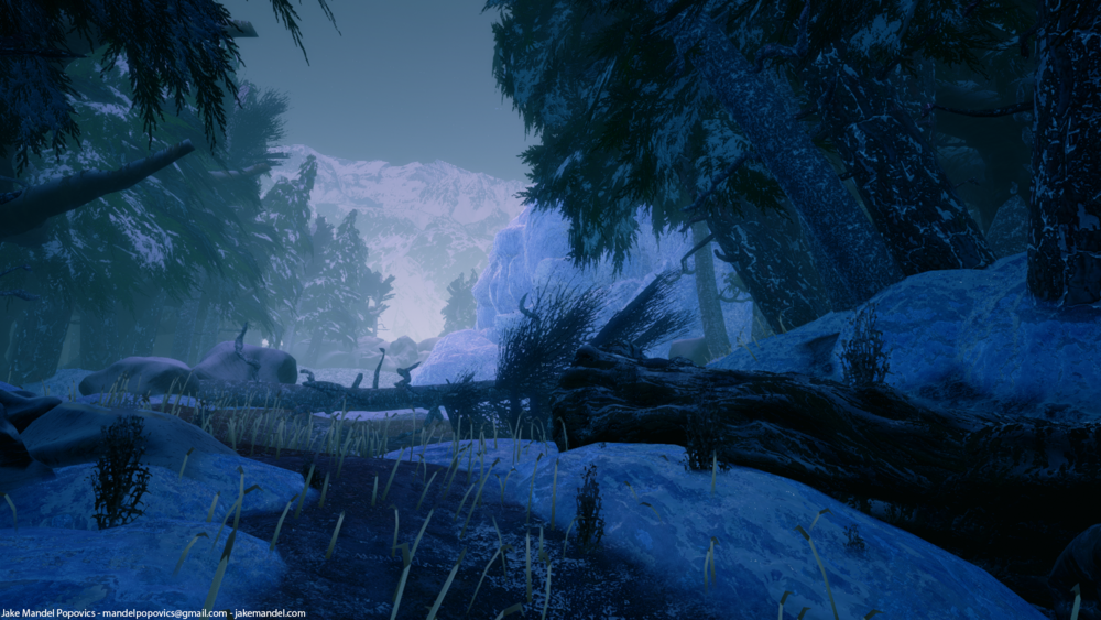 Icy forest biome. Rendered in Unreal Engine 4.