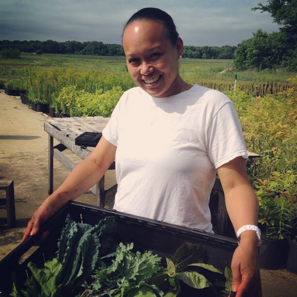 Chef Ana making a farm visit to grab her fresh veggies!