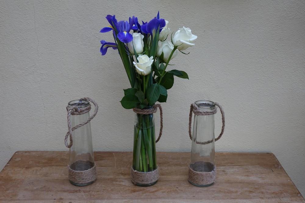 Tall Flower Vase with Hessian Rope £1.50