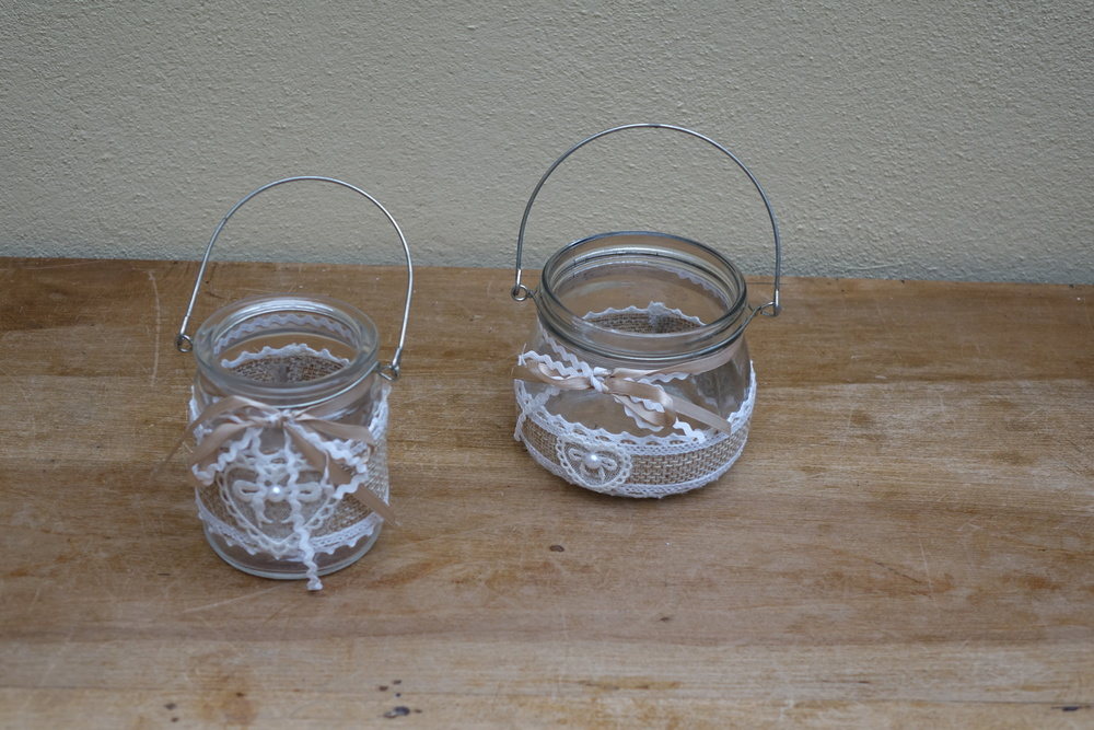 Hessian and Lace Jars £1.50