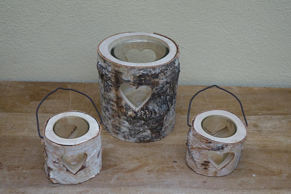 Bark Heart Candle Lanterns Large £5, Small £2
