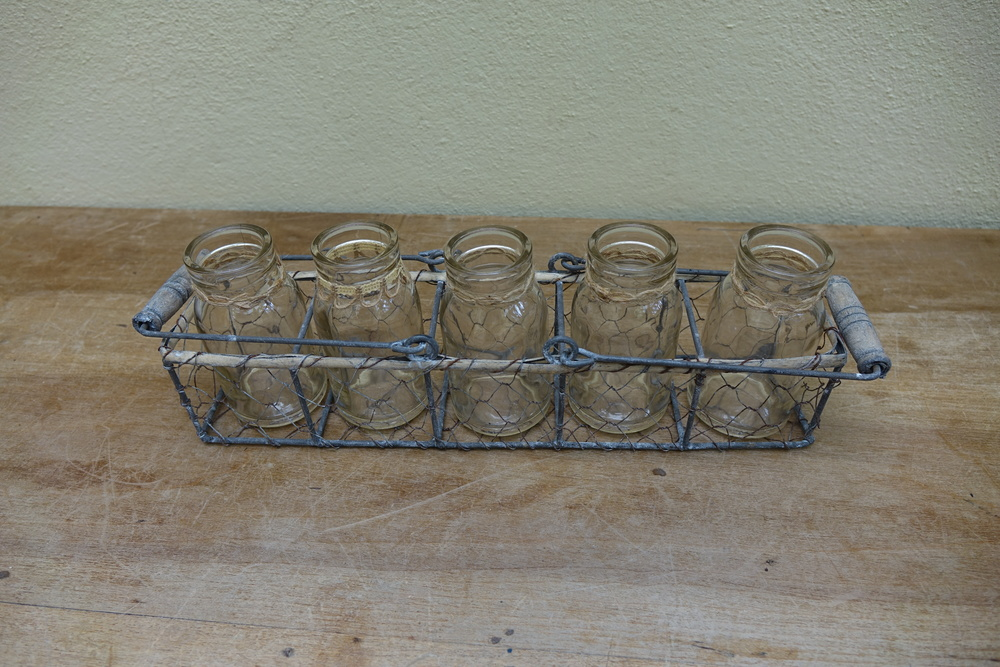 Mini Milk Bottles & Basket £5