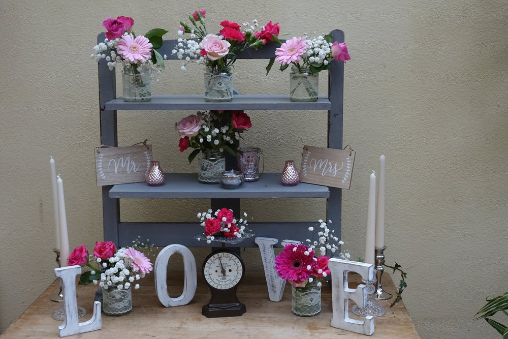3 tier Vintage grey display shelves £15