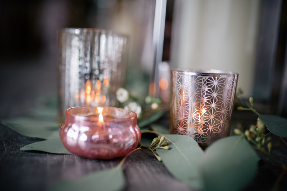 Selection of pink rose gold tea lights from £1