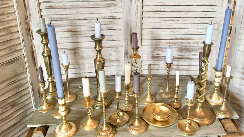 Vintage Brass Candlesticks from £1
