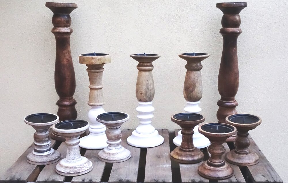 Wooden Candlesticks Various 12 of Each Design