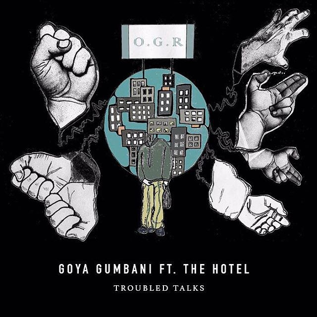 Some artillery with @kenrik.gumbani  Artwork by @doodoofe 'Troubled Talks' (link in bio) . . . . . . #goyagumbani #thehotel #troubledtalks #music #london