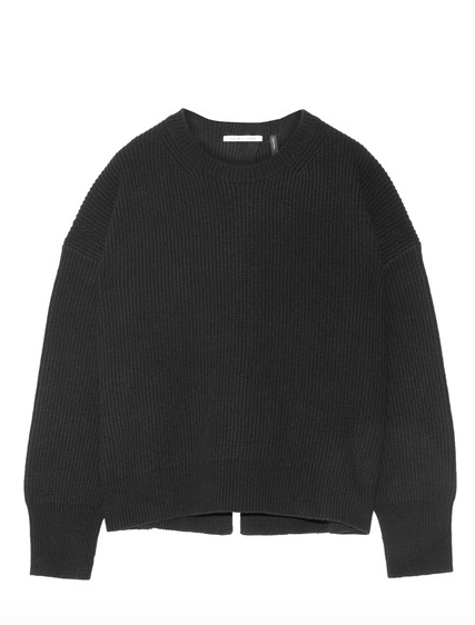 OPEN-BACK RIBBED WOOL AND CASHMERE-BLEND SWEATER