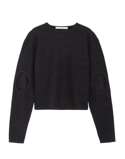 CUTOUT BOILED WOOL SWEATER