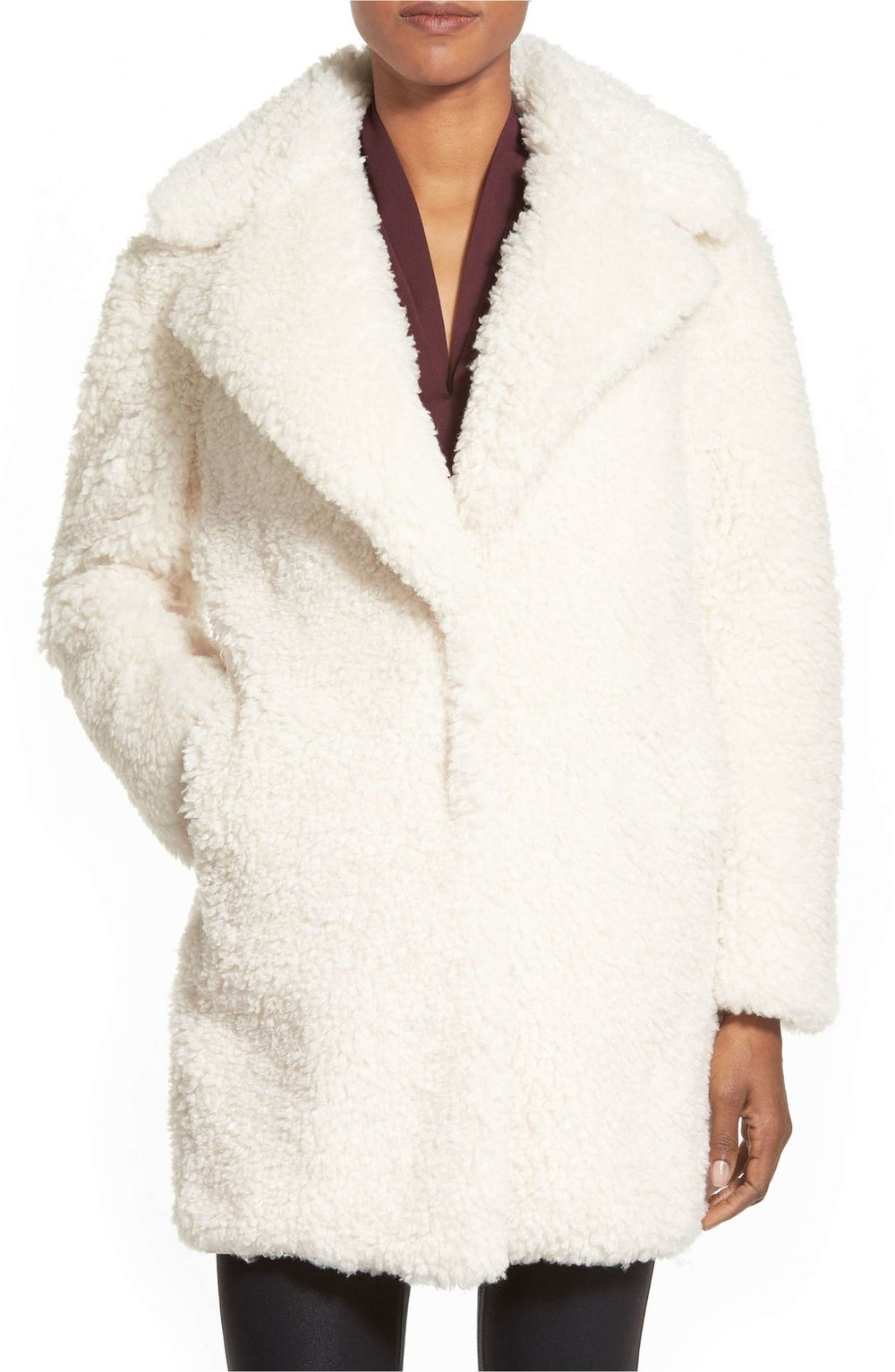 kensie teddy bear notch collar faux fur coat