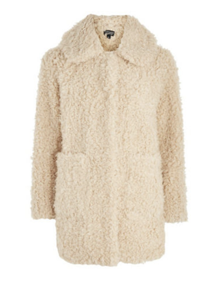 topshop curly teddy bear jacket