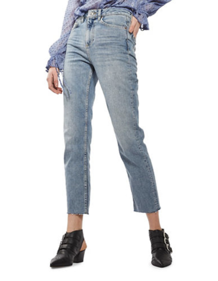 cropped moto jeans