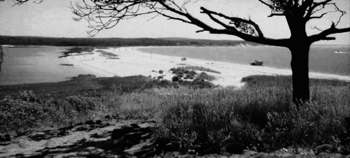 T he Little Peconic   Bay, right,lagoon to the left.Viewed from the bluff at Jessup Neck,Long Island, New York,circa late-1960's.