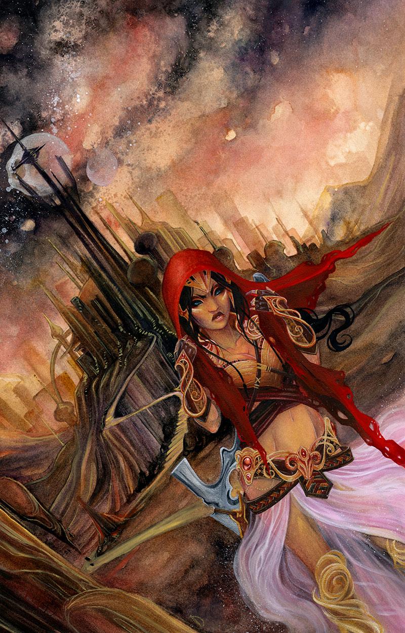 Dejah's exodus \\ 18x24 \\watercolor, gouache