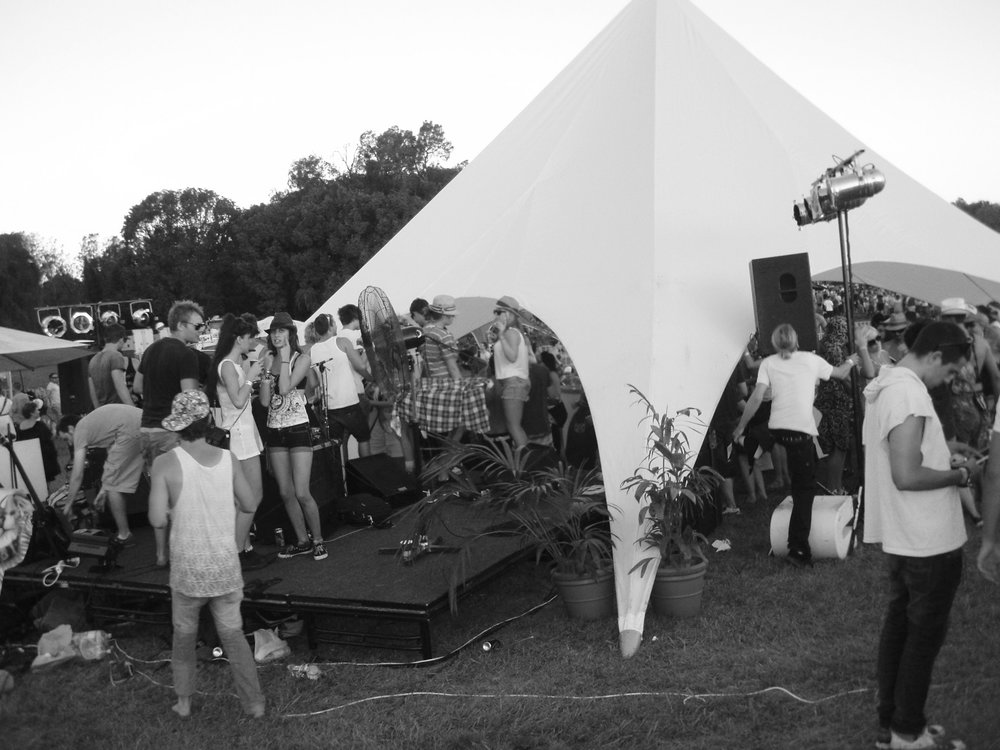 A tent featuring live DJ performances and selling Peter Stuyvesant cigarettes at the V festival Australia 2007.