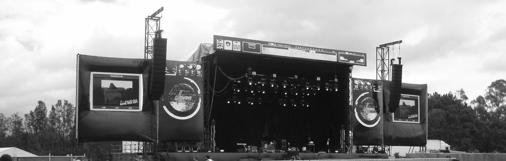 Screens at the V festival Australia that fans could send images to using the MMS function of feature phones, 2007.