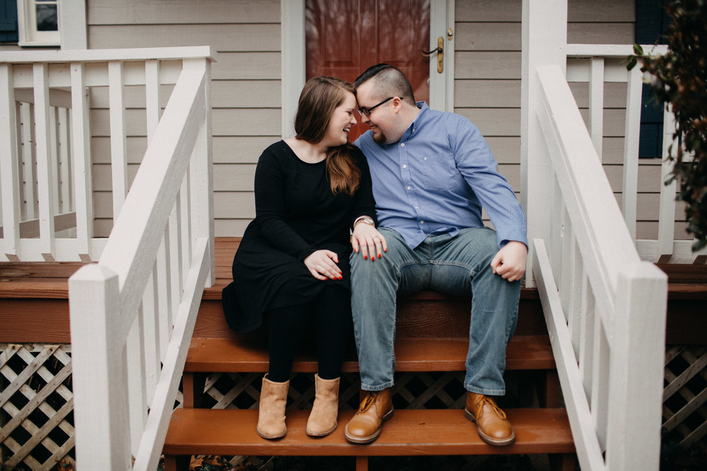 Couple sitting on porch of Richmond, VA home