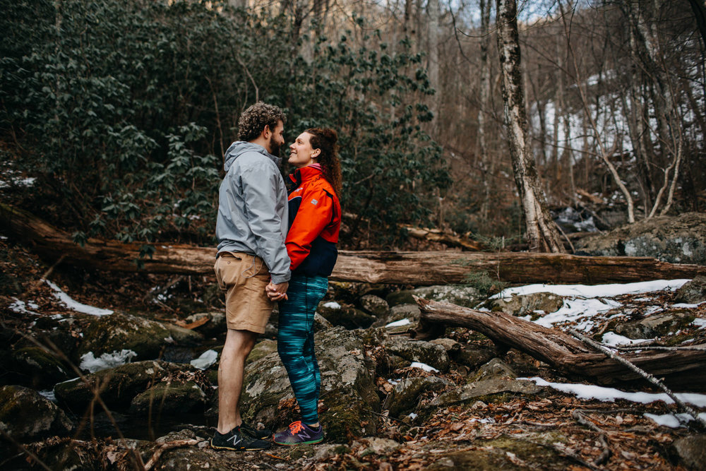 engagement session at Crabtree Falls