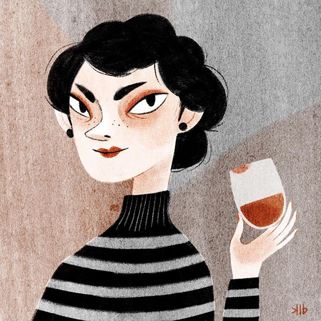 Want to share a glass of #wine? She's looking for a good story. Warm up of sorts: Getting back into drawing after vacation. #procreate #procreateart #ipadproart #digitalart
