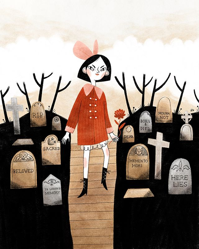 """Moira placed flowers on the lonely graves when she could. The other kids at school teased her and called her ""the graveyard girl"" because she spent so much time in the local cemetery. They were scared of the graveyard, but Moira wasn't; she knew that some day they'd all meet there, as death was the only thing, besides birth, that all humans on this earth must experience."" . . . [If you're interested: This is inspired by my personal interest in graveyards and mausoleums as places of memory. I lived close to an older cemetery as a teenager and always thought it was so beautiful and interesting, I even wrote a story about it in college (and my brother is now buried there, which gives it more purpose and permanence for me). In graduate school my thesis project (I studied interior design) was a mausoleum, where I specifically questioned why as a society we tend to remove death from our daily lives (typical in the US) when death (and grief) is something that all humans experience at some point. Moira is an expression of that question. 🖤🌹] . . . #illustration #death #grief"