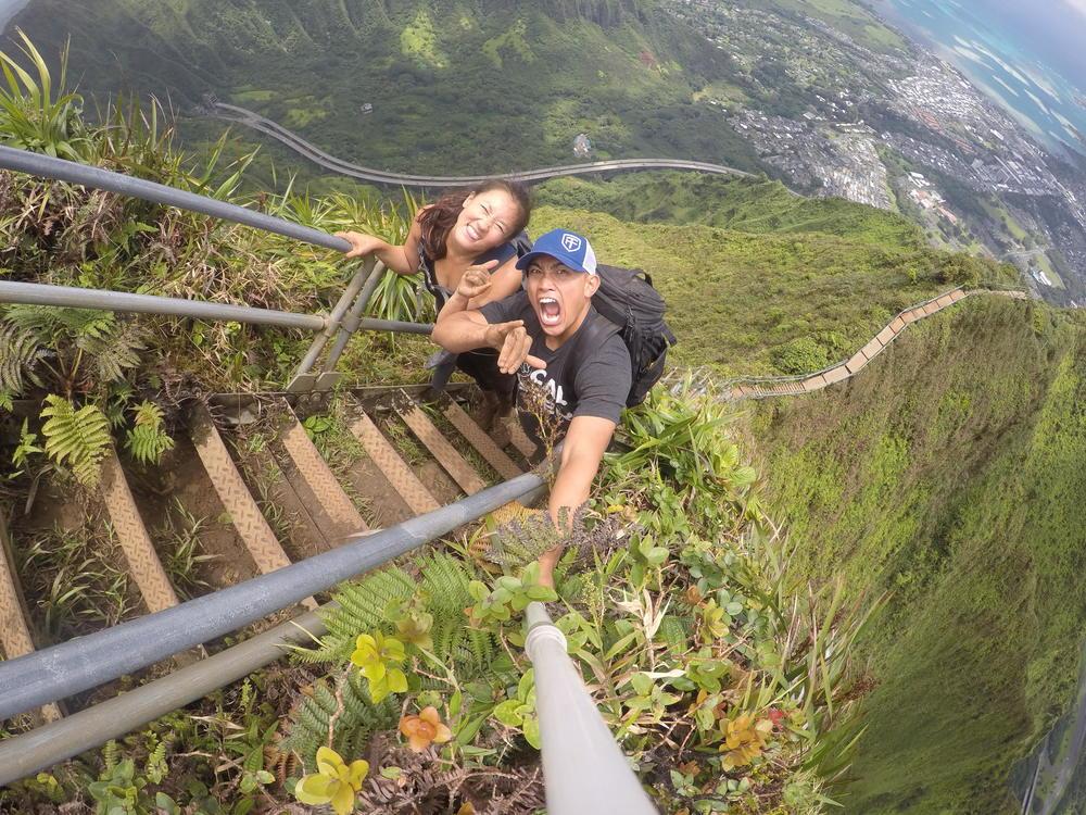 Hannah and I hiking to Haiku Stairs, Oahu