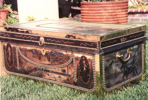 Hand-painted western trunk. Original design. One of a kind.