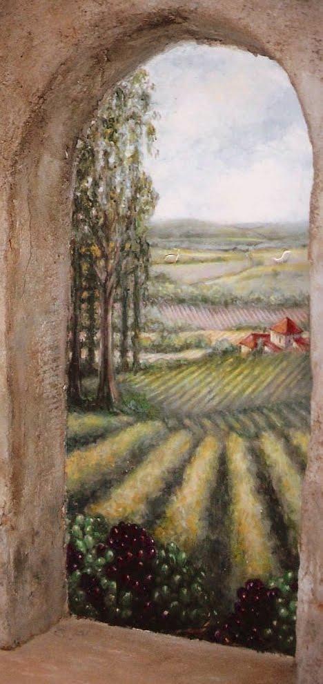 Wine cellar mural.