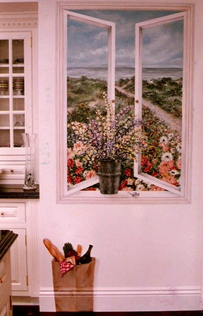 Client's view in window mural.