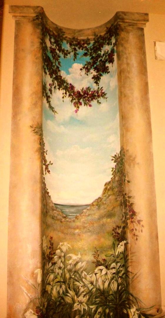 Powder room mural.