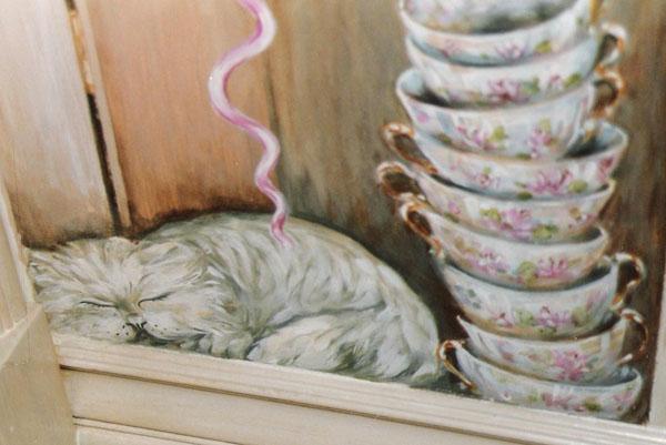 Detail, china hutch mural.