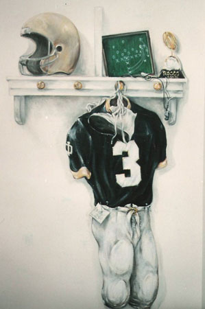 Clients high school jersey mural for boys room.