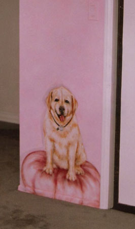 Client's dog in girl's room.